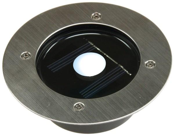 LED Edelstahl Solar Bodenstrahler in rund IP44 Dämmerungs Sensor befahrbar 2T