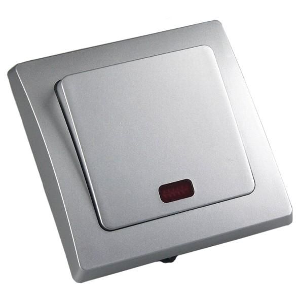 1* DELPHI Kontroll-Schalter mit Lämpchen 250V~ 10A inklusive Rahmen UP silber