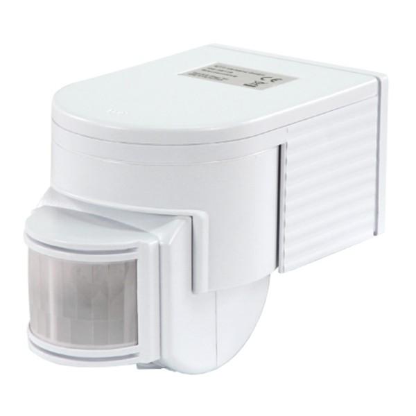 Bewegungsmelder 10 -1200Watt weiß max.12m 180° Innen IP40 IR LED 5sec-9min