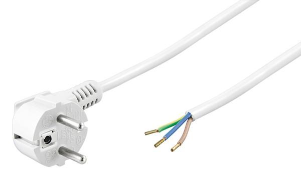 5m Netzkabel Stecker 90° gewinkelt TypF CEE 7/7 > 3 lose Kabelenden weiß