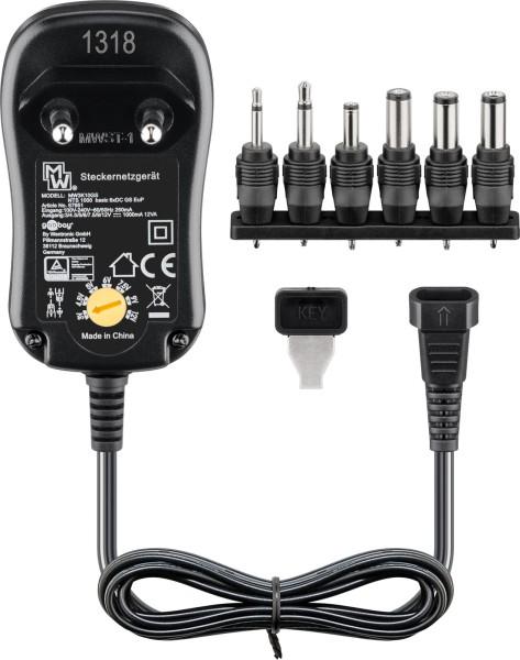 Universal Netzteil AC/DC 3V 4,5V 5V 6V 7,5V 9V 12V 1000mA 110-240V + 6 Stecker