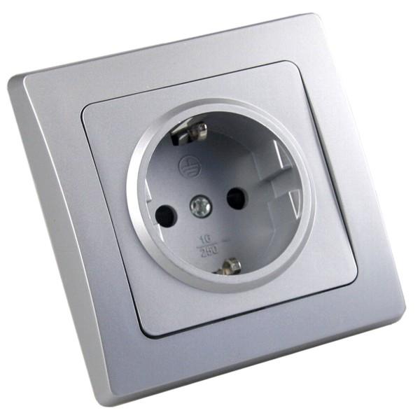 1* DELPHI Schutzkontakt-Steckdose Klemmanschluss 250V~ 16A inkl.Rahmen UP silber