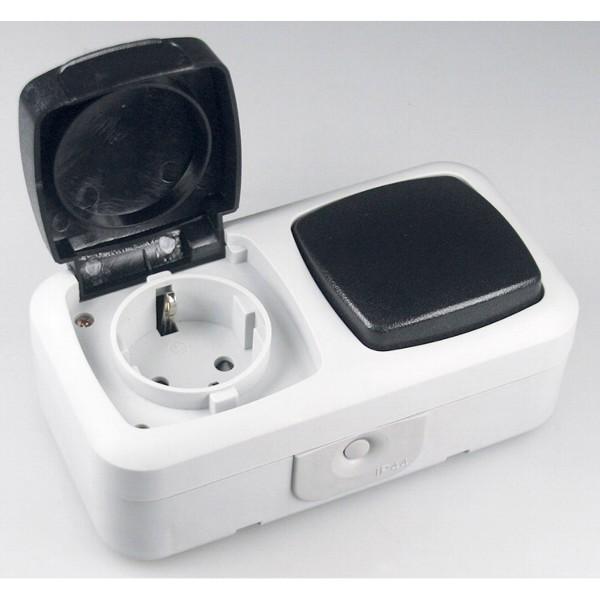 1* Feuchtraum Kombi-Schalter IP44 250V~ inkl. AP-Rahmen grau Steckdose Schalter