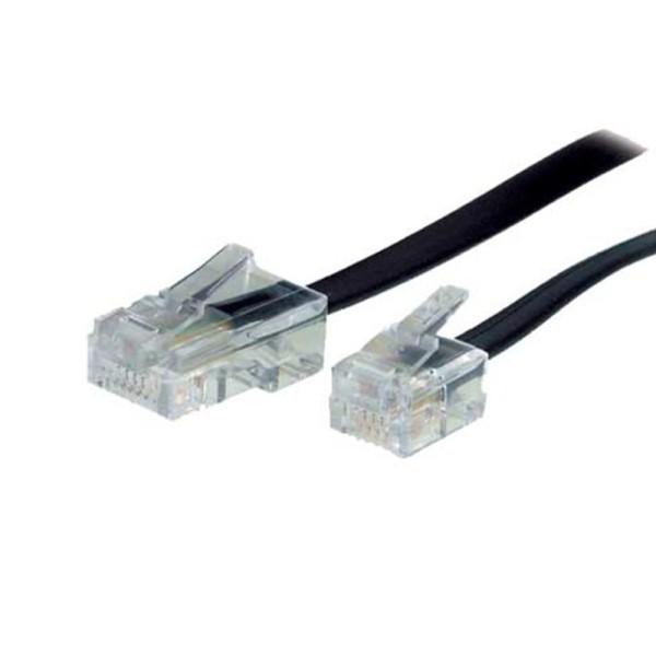 10m Telefon Kabel RJ11 Western Stecker 6/4 > ISDN RJ45 St. 8/4 schwarz DSL NTBA