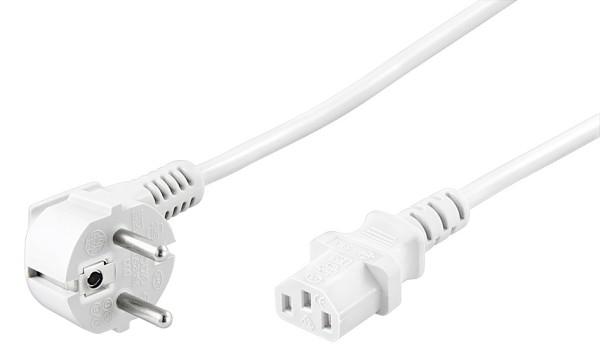 2m Strom Netzkabel Stecker abgwinkelt TypF 7/7 > Buchse Kaltgeräteanschluss weiß