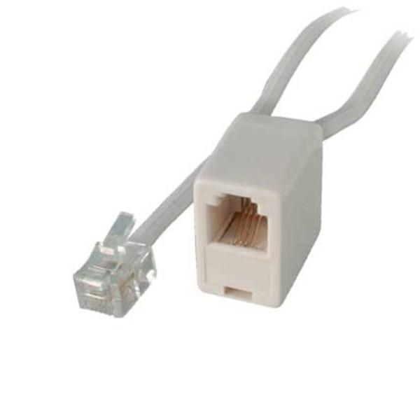 6m ISDN Telefon Kabel Verlängerung weiß RJ45 8/4 Western Stecker > Kupplung