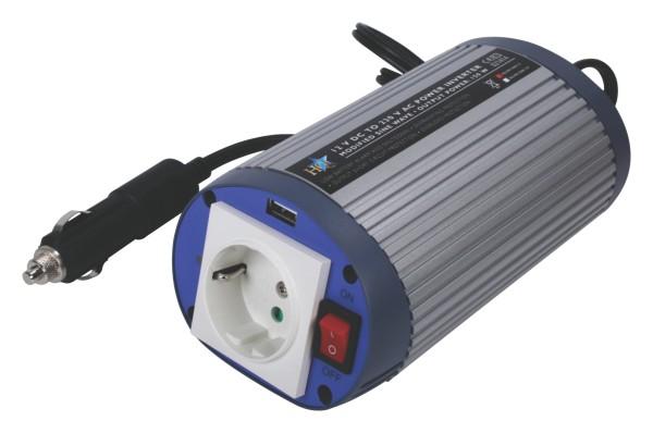HQ® Wechselrichter Spannungswandler 12V > 230V 300 Watt +USB PKW Camping Outdoor