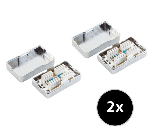 2 Stück Cat 6 LSA Anschlussbox Netzwerk Kabel Verbinder LAN 2*RJ45 Verlängerung