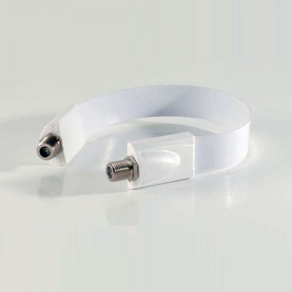 Weiße Fensterdurchführung Ultra Slim KUPFER vernickelt weiss FULL HD F-Kabel SAT