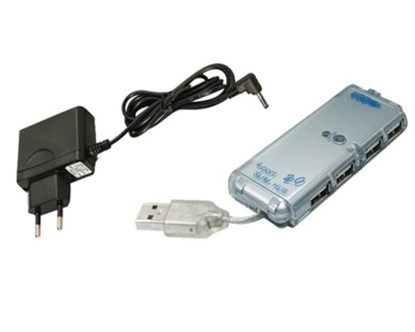 USB 2.0 Hi-Speed 4 Fach Verteiler Hub Splitter Port 480Mbps 0,15m mit Netzteil