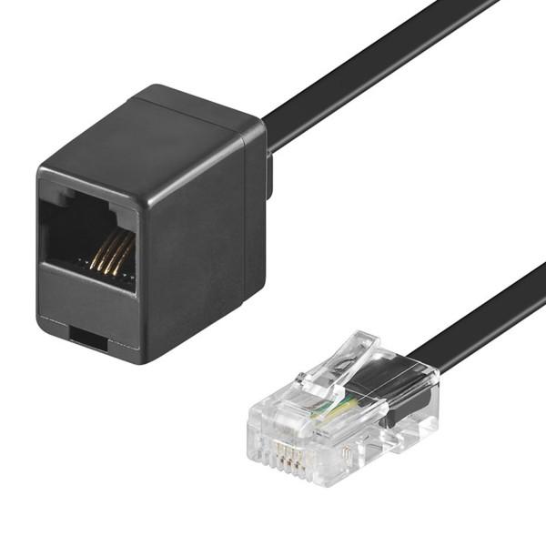 10m ISDN Telefon Kabel Verlängerung RJ45 Stecker 8P4C > Buchse schwarz 4polig