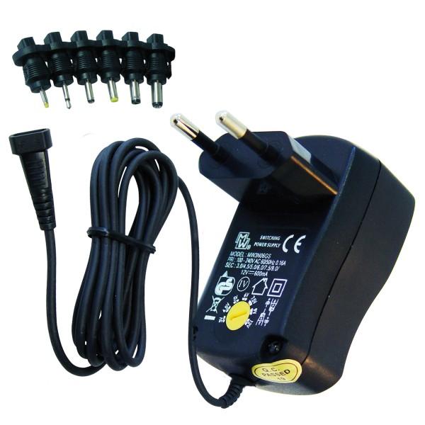 Universal Netzteil 3V 4,5V 5V 6V 7,5V 9V 12V AC DC 600mA DC + 6 Adapter Stecker