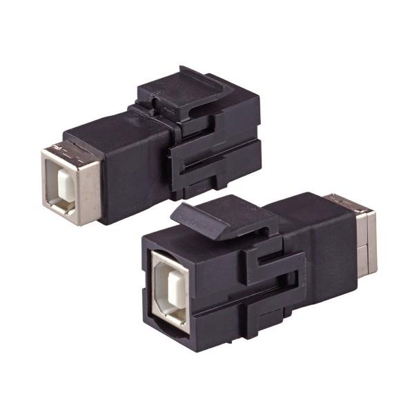Keystone Modul USB 2.0 B Buche Gender Changer schwarz SNAP-IN Adapter Verbinder