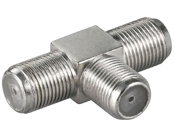 Goobay® T-Stück Sat F Kabel Kupplung Adapter Verbinder Y Weiche TV Koaxial