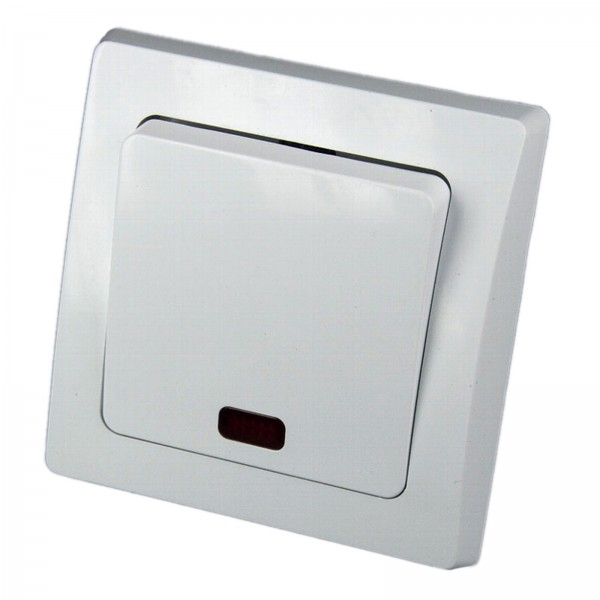 1* DELPHI Kontroll-Schalter mit Lämpchen 250V~ 10A inklusive Rahmen UP weiß