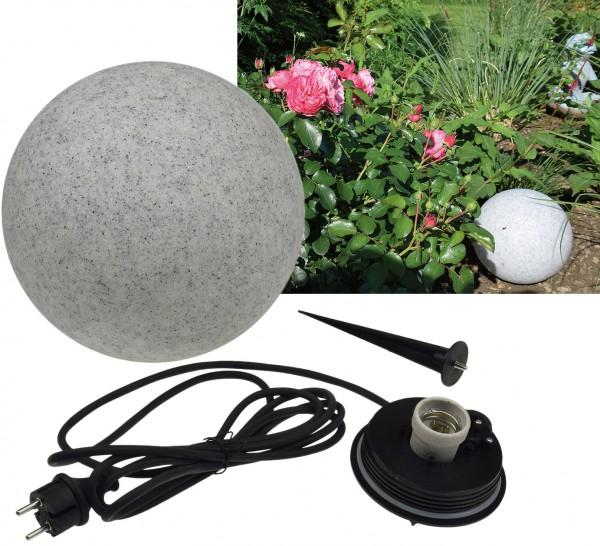 Garten Kugelleuchte Granit Optik 28cm Außenlampe Gartenkugel Kugellampe IP44 E27