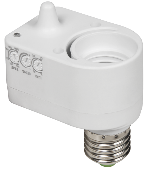 Mikrowellen Bewegungsmelder 360° mit E27 Fassung 1-5m 230V 60W IP20 LED geeignet