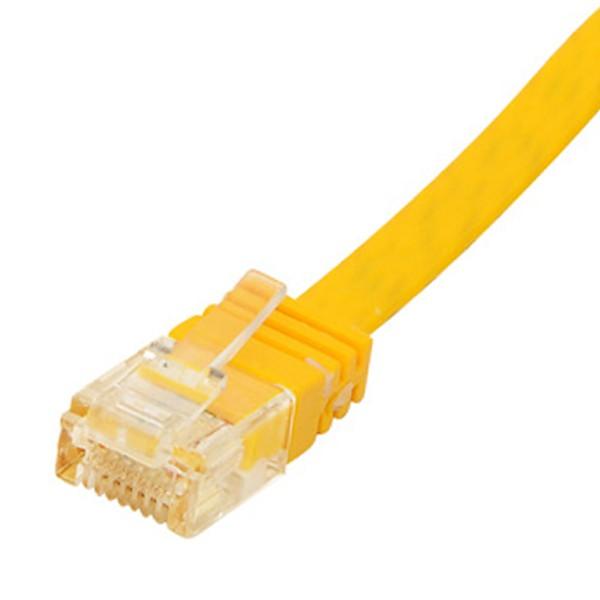 1m CAT6 Patchkabel Netzwerkkabel Flachkabel Ethernet LAN DSL Flach Kabel gelb