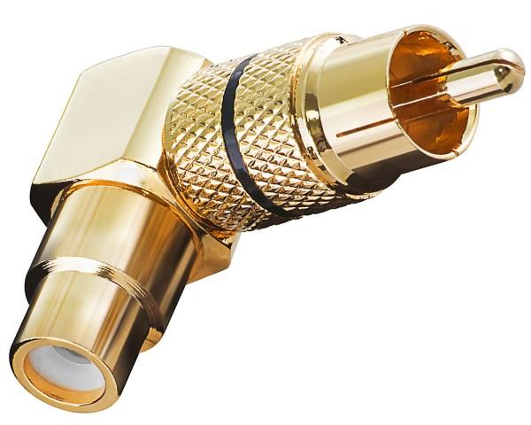 Adapter Cinch Winkeladapter Chinch Winkel Stecker schwarz Gold metall