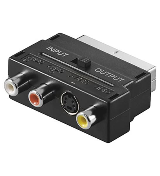 TV SCART Adapter SVHS + 3x Cinch S-Video mit in out umschaltbar RCA Chinch AV