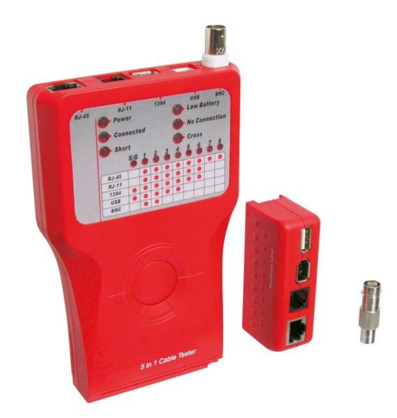 Goobay® Netzwerktester Leitungstester für RJ11/12/45 Cat5/6 ISDN USB Firewire