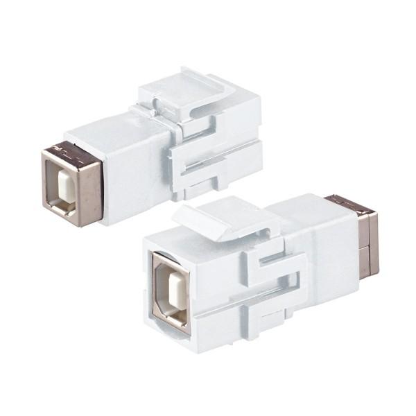 Keystone Modul USB 2.0 B Buche Gender Changer weiß SNAP-IN Adapter Verbinder