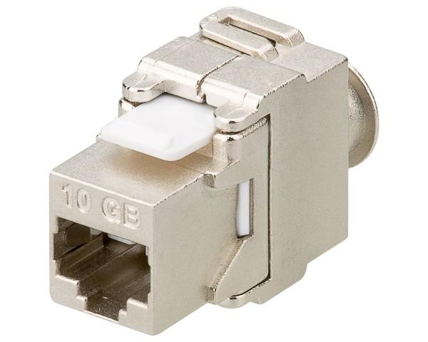 Goobay® CAT6a KeyStone Jack RJ45 werkzeuglos STP SNAP-IN CAT 6a 500MHz geschirmt