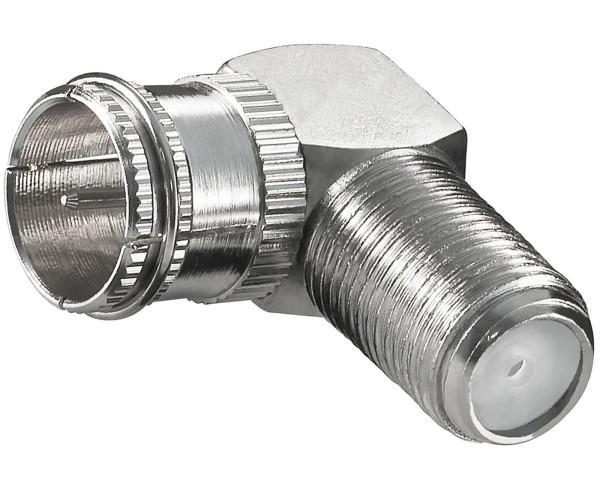 Goobay® F-Quick Stecker > F-Kupplung 90° Winkel Adapter SAT TV abgewinkelt Kabel
