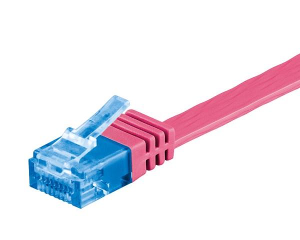 2m CAT 6a Patchkabel Flachkabel 500MHz U/UTP 2xRJ45 Netzwerk Kabel magenta 2 m