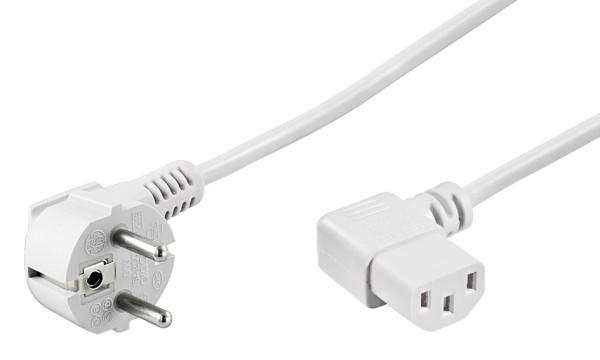 5m Netzkabel Stecker 90° TypFCEE7/7 > Buchse 90° C13 Kaltgeräteanschluss weiß