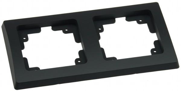 DELPHI 2-fach Rahmen matt-schwarz für Steckdose Schalter Dimmer Taster usw.