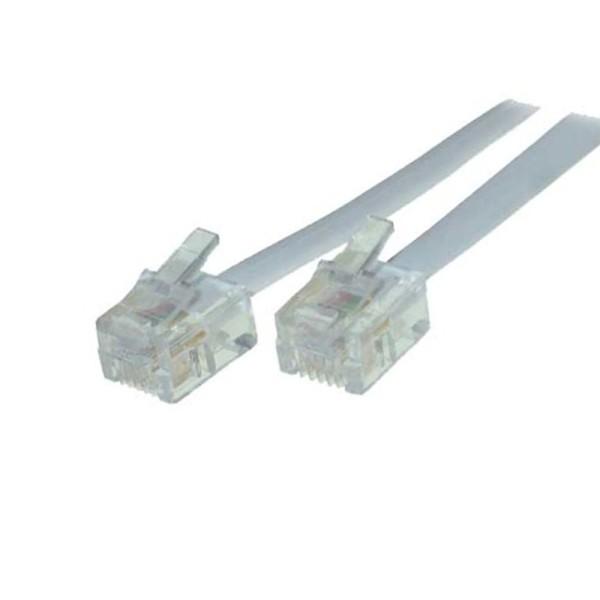 10m ISDN Modular Telefon Anschluß kabel 2* RJ45 Stecker 8/4 Westernstecker weiß