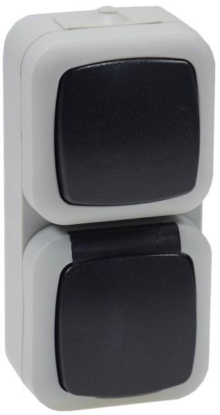 Feuchtraum vertikaler 2er-Kombi Schalter + Steckdose IP44 250V~/ 10/16A grau AP