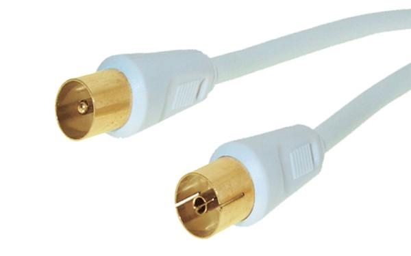 5m Antennenkabel Koaxialstecker weiß TV Koax Kabel vergoldet doppelt geschirmt