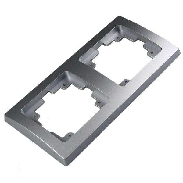1* DELPHI 2-fach Rahmen silber für Steckdose Wechsel-Schalter Dimmer Taster usw.