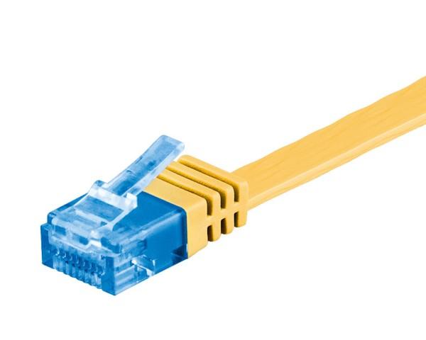 2m CAT 6a Patchkabel Flachkabel 500MHz U/UTP 2xRJ45 Netzwerk Kabel gelb 2 m