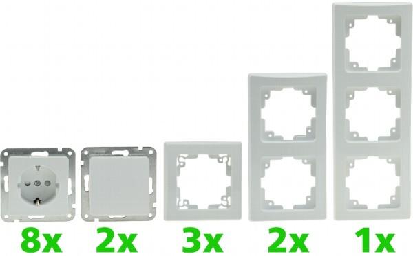 """DELPHI Set """"PRO"""" 16-teilig weiß 8* Steckdose 2* Schalter Klemmanschluß + Rahmen"""