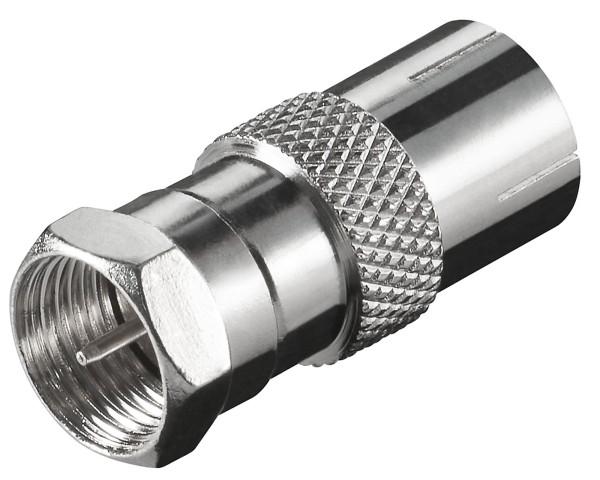 Goobay® F-Stecker > Koaxial-Kupplung Buchse SAT TV Adapter Antenne Kabel