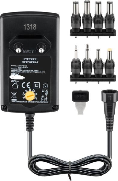 Universal Netzteil 3V 4,5V 5V 6V 7,5V 9V 12V 2250mA AC/DC + 8 Adapter Stecker
