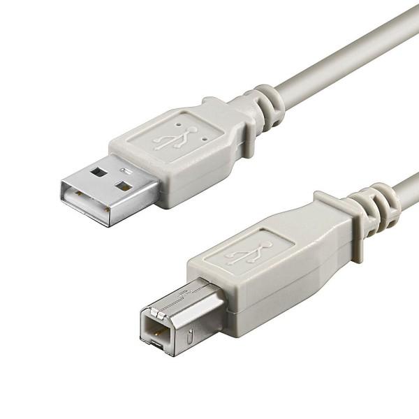1,8m USB 2.0 Hi-Speed Kabel A B Stecker Drucker Kabel grau doppelt geschirmt