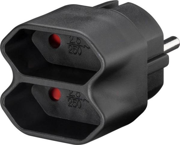 Steckdosen Adapter   Euro Mehrfach Stecker 2fach   Schutzkontakt Stecker schwarz