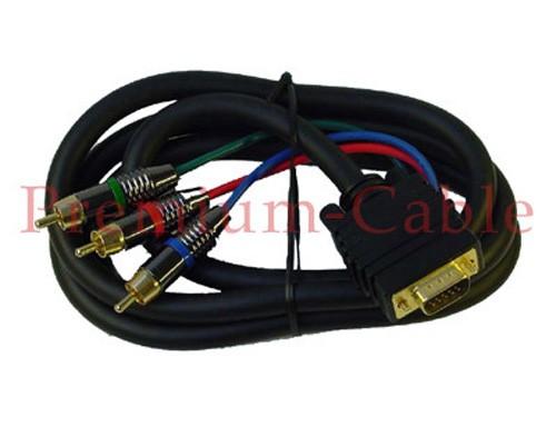 5m Premium Video Kabel 3* RGB (rot/grün/blau) VGA Stecker 15polig