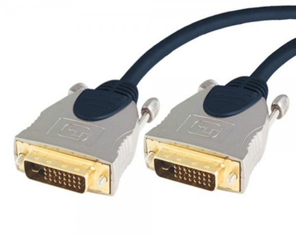 High End DVI-D Dual-Link (24+1) Kabel 7,5m gold Ferrit