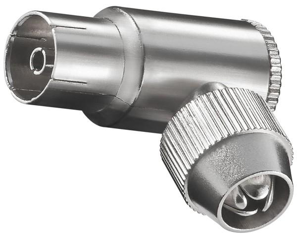Goobay® Winkel Adapter Koaxial Kupplung 9,5mm Metall Antennen Buchse SAT TV Koax
