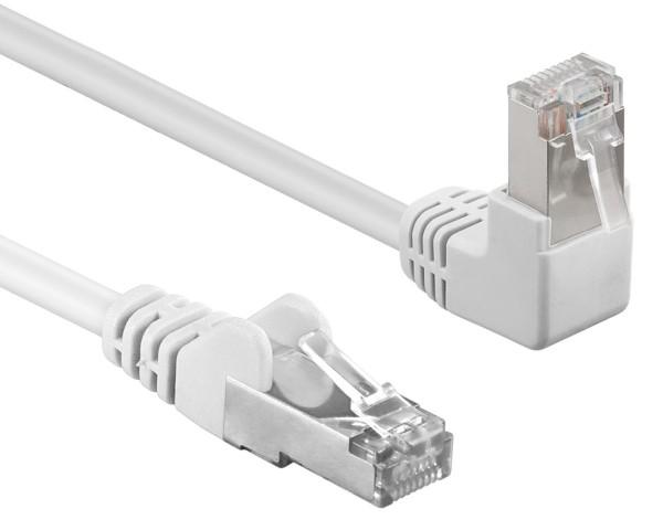 3m Patchkabel CAT 5e 1*90°gewinkelt 1*gerade Netzwerk Kabel F/UTP weiß RJ45