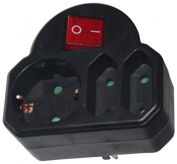 Mehrfachsteckdose 3fach Adapter Multistecker Steckdose Verteiler Euro + Schalter