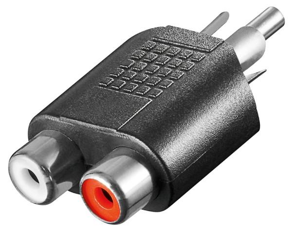 Goobay® Audio Cinch Verteiler Y-Adapter 1 Stecker auf 2 * Kupplung Buchse