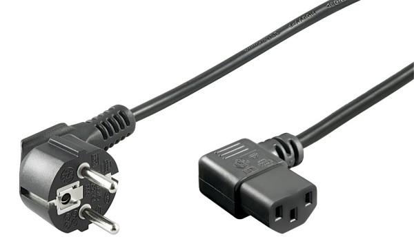 2m Kaltgeräte Kabel PC Stromkabel Netzkabel beidseitig 90° gewinkelt Schwarz
