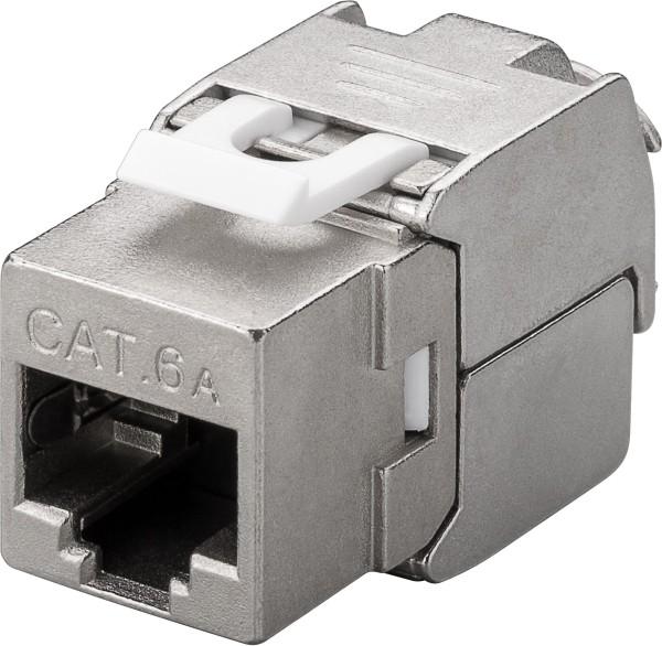 CAT 6A KeyStone RJ45 Jack STP geschirmt 500MHz slim line Metallausführung CAT6a