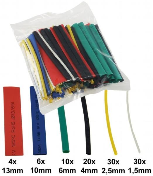 100 teiliges Schrumpfschlauch Sortiment Tüte Schrumpfschläuche 10cm lang bunt
